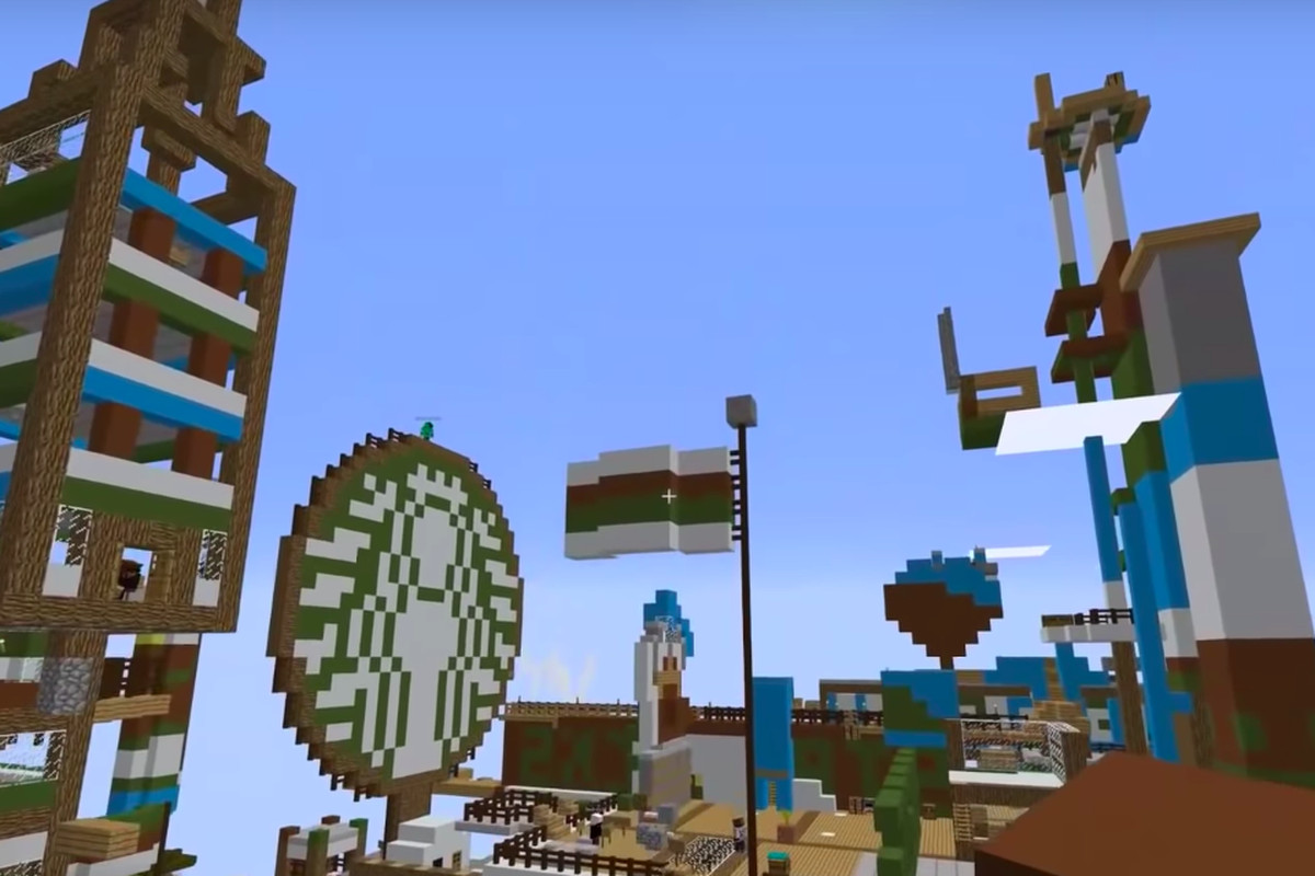 The streamer who built a giant Starbucks island in Minecraft to
