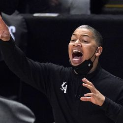 Los Angeles Clippers head coach Tyronn Lue gestures during the second half of Game 3 of a second-round NBA basketball playoff series against the Utah Jazz Saturday, June 12, 2021, in Los Angeles.