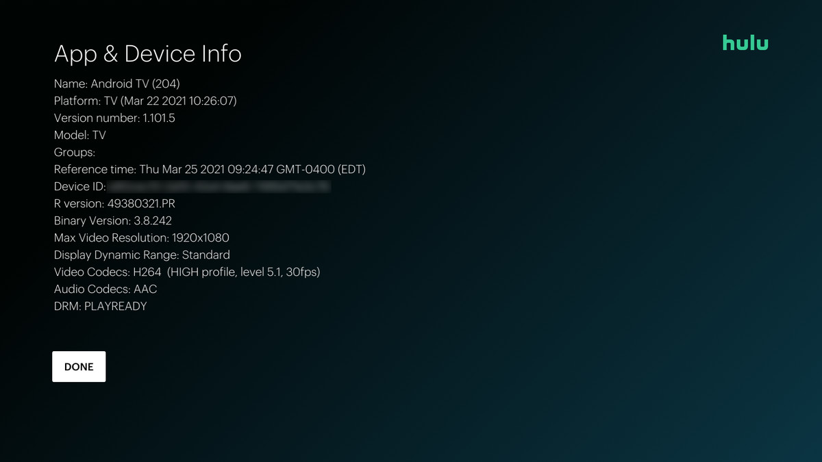 aplicación Android TV Hulu