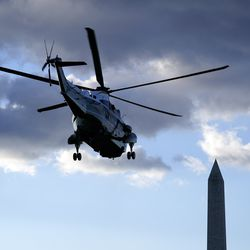 President Donald Trump departs on Marine One on the South Lawn of the White House, Wednesday, Jan. 20, 2021, in Washington. Trump is en route to his Mar-a-Lago Florida Resort.
