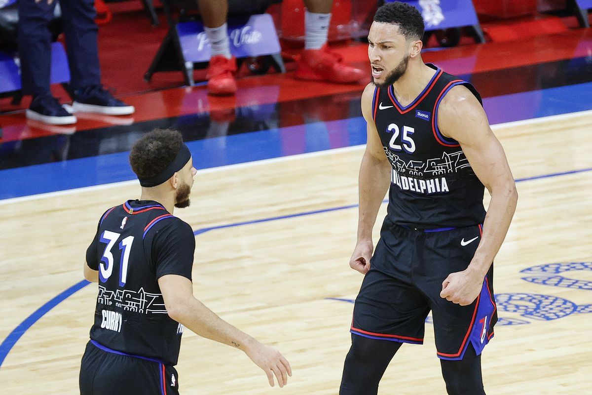 Ben Simmons of the Philadelphia 76ers celebrates during the third quarter against the Washington Wizards during Game One of the Eastern Conference first round series at Wells Fargo Center on May 23, 2021 in Philadelphia, Pennsylvania.