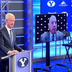 BYU President Kevin J Worthen speaks at a press conference in Provo on Friday, Sept. 10, 2021, with Big 12 Commissioner Bob Bowlsby on video conference. BYU accepted an invitation to join the Big 12 Conference.