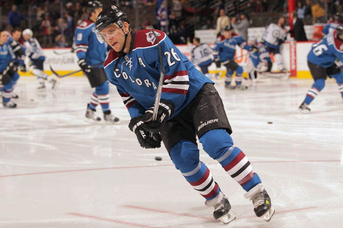 DENVER, CO - DECEMBER 27:  Paul Stastny #26 of the Colorado Avalanche warms up prior to facing the Winnipeg Jets at the Pepsi Center on December 27, 2011 in Denver, Colorado.  (Photo by Doug Pensinger/Getty Images)