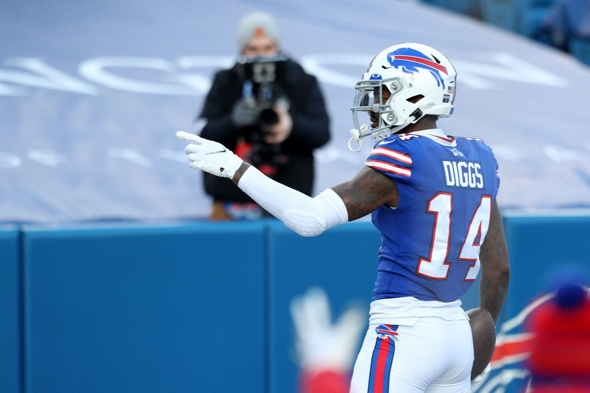 Stefon Diggs #14 of the Buffalo Bills celebrates after scoring a touchdown during the fourth quarter of an AFC Wild Card playoff game against the Indianapolis Colts at Bills Stadium on January 09, 2021 in Orchard Park, New York.