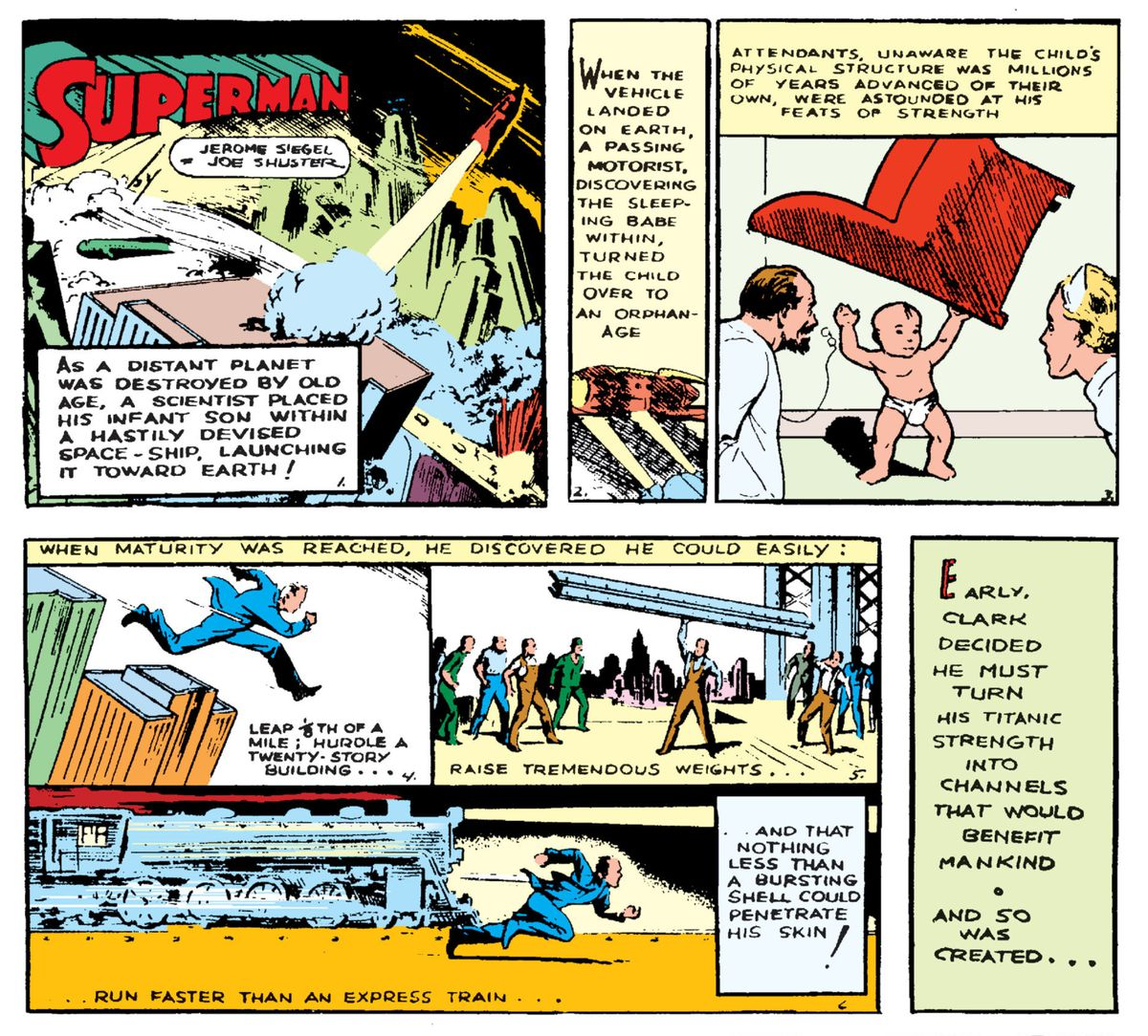 Superman's original origin story, as shown in Action Comics #1, DC Comics (1938).