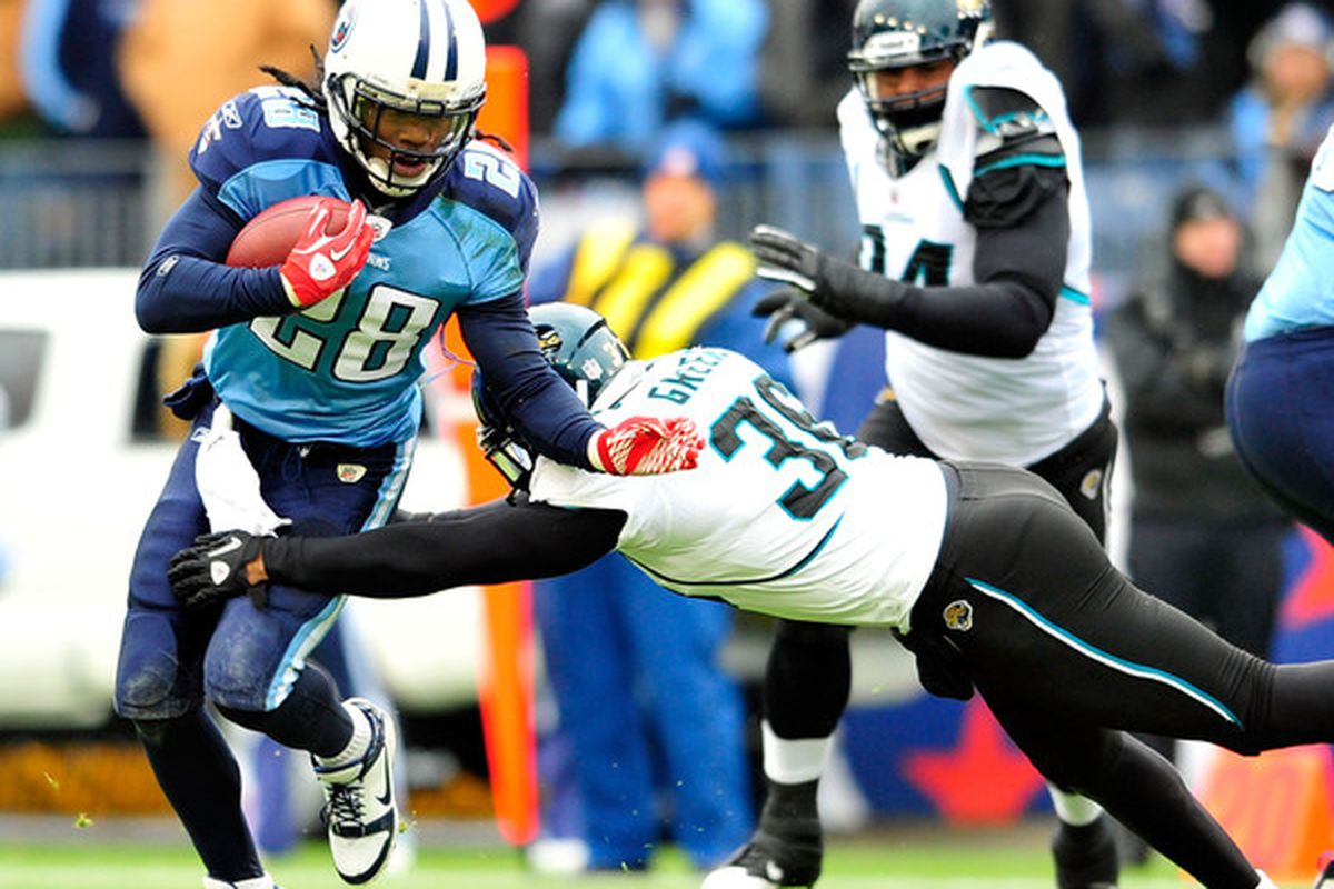 NASHVILLE TN - DECEMBER 05:  Chris Johnson #28 of the Tennessee Titans runs against Courtney Greene #36 of the Jacksonville Jaguars during the first half at LP Field on December 5 2010 in Nashville Tennessee.  (Photo by Grant Halverson/Getty Images)
