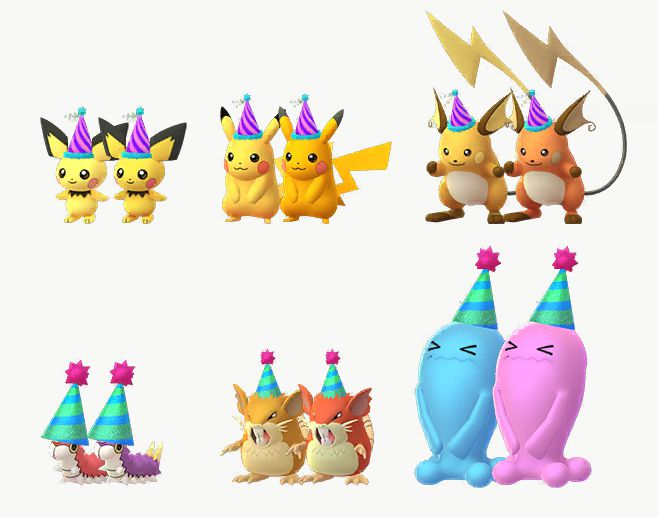 Pichu, Pikachu, Raichu, Wurmple, Raticate, and Wobbuffet in party hats stand with their Shiny versions