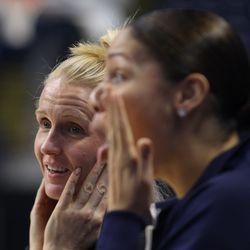 UConn assistant coaches Shea Ralph and Marisa Moseley