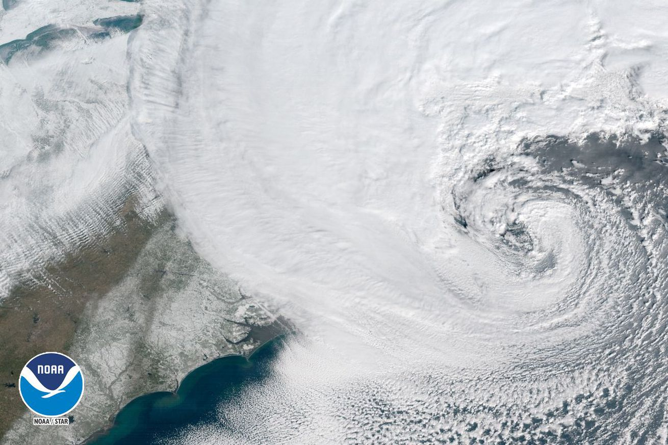Satellite images of today's bomb cyclone show a snowy monster on the East Coast