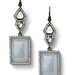 Grey jade and shield diamond earrings with white diamond pavé, drop wire, 18 carat recycled oxidized white gold, 1.85 TCW $22,510