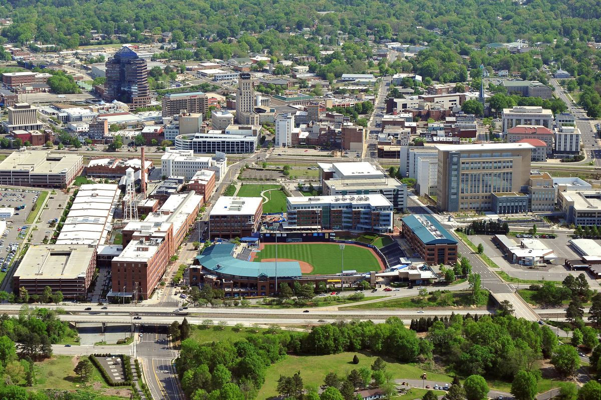 An aerial view of the downtown area of Durham, North Carolina including the Durham Bulls Athletic Park (lower middle) on April 21, 2013.