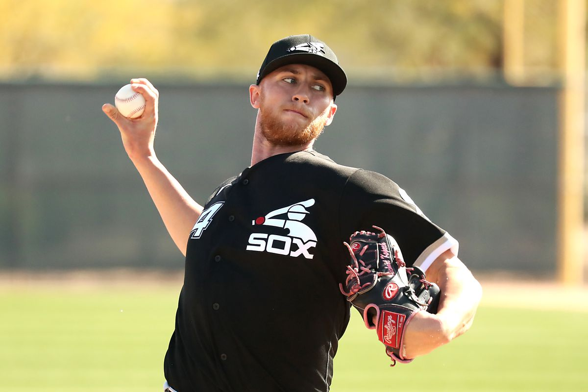 Michael Kopech throws live batting practice at White Sox spring training complex in Glendale, Ariz., on Tuesday.