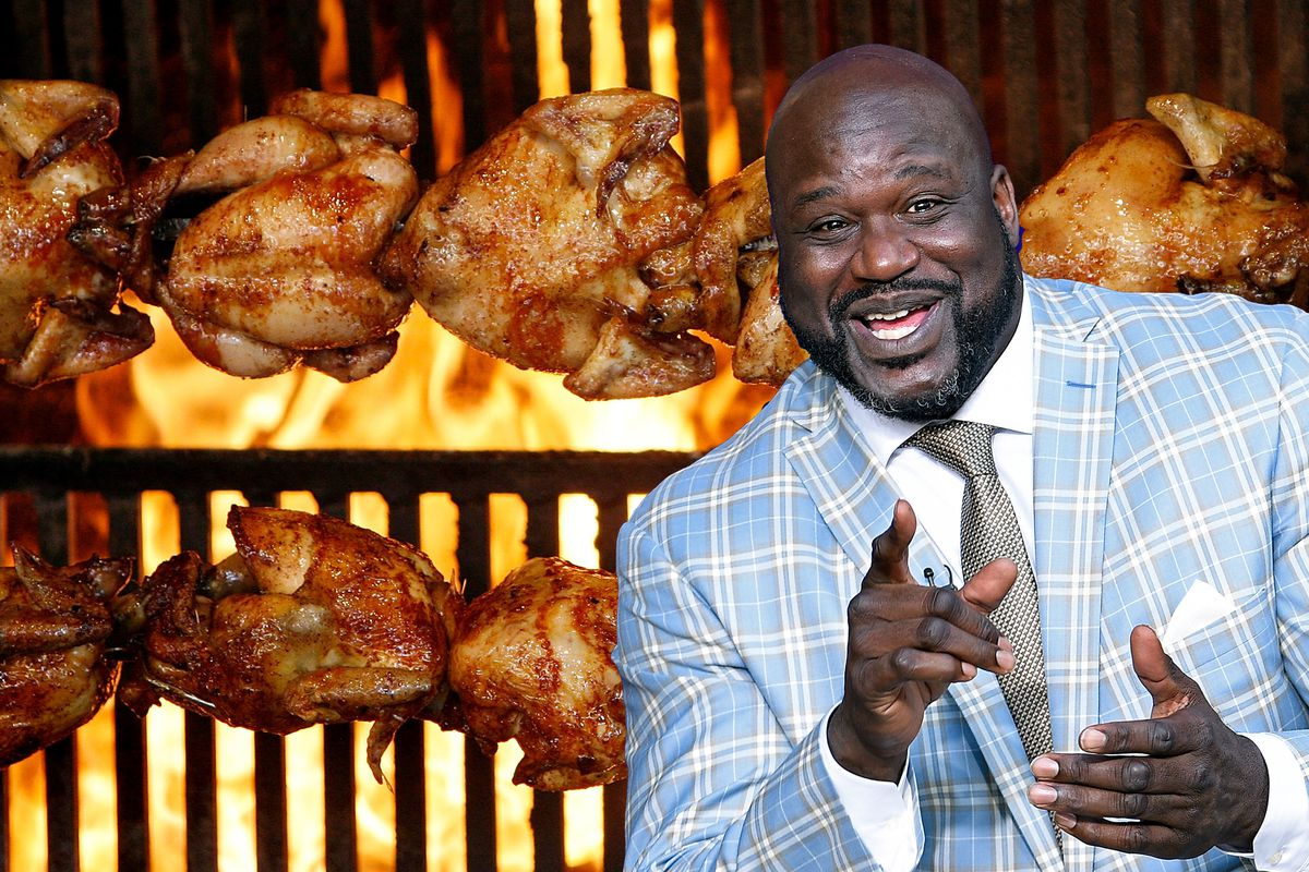 Shaquille O'Neal overlaid with an up-close shot of rotisserie chicken.