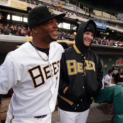 Players Luiz Jimenez and Ryan Brasier have some fun as the Salt Lake Bees open the season at home  in Salt Lake City  Friday, April 13, 2012.