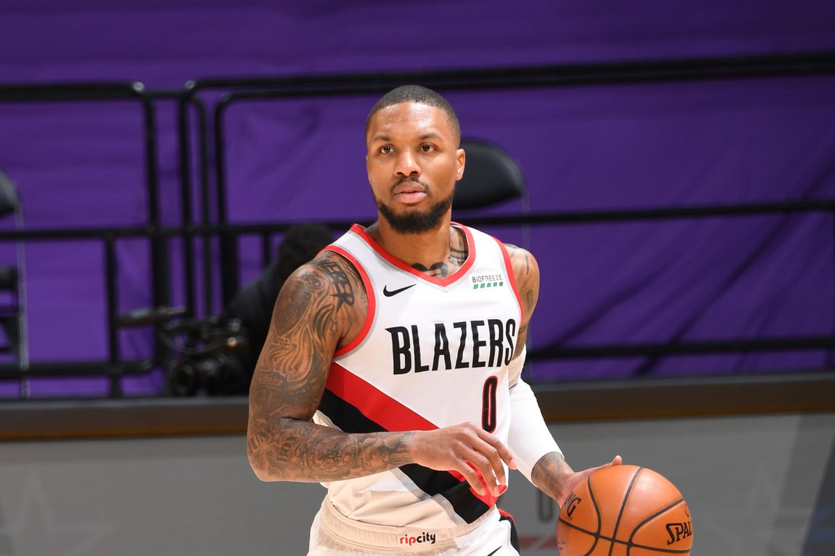 Damian Lillard of the Portland Trail Blazers dribbles the ball during the game against the Los Angeles Lakers on February 26, 2021 at STAPLES Center in Los Angeles, California.