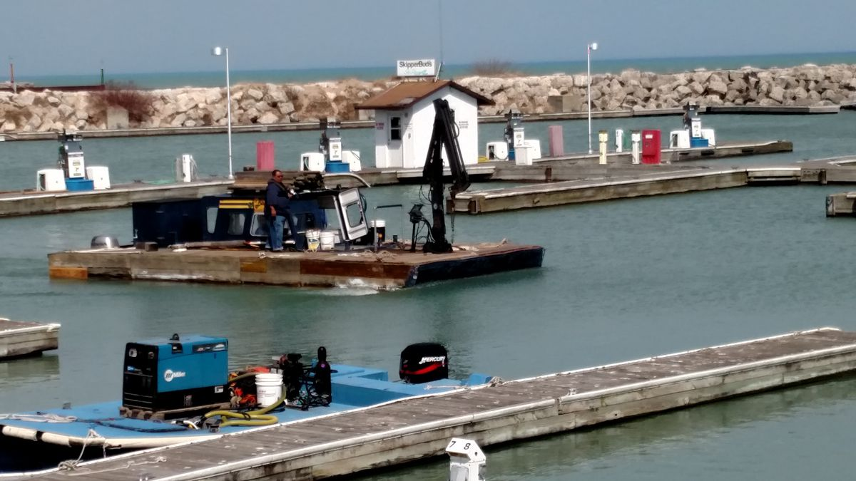 The work of bringing back North Point Marina is well underway as boating season begins soon.<br>Credit Dale Bowman
