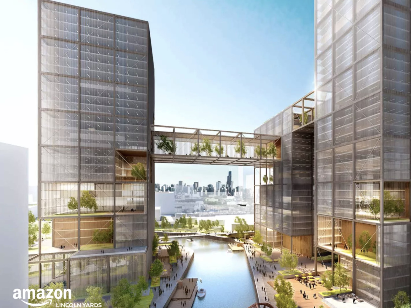 A conceptual rendering of Amazon HQ2 at Chicago's Lincoln Yards development site.