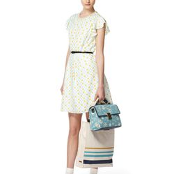 Look 5: Short-Sleeved Printed Cycle Dress with Pearls in Cream, $44.99 Canvas Tote with Blue Stripe, $39.99 Front-Flap Bag in Blue Floral, $39.99