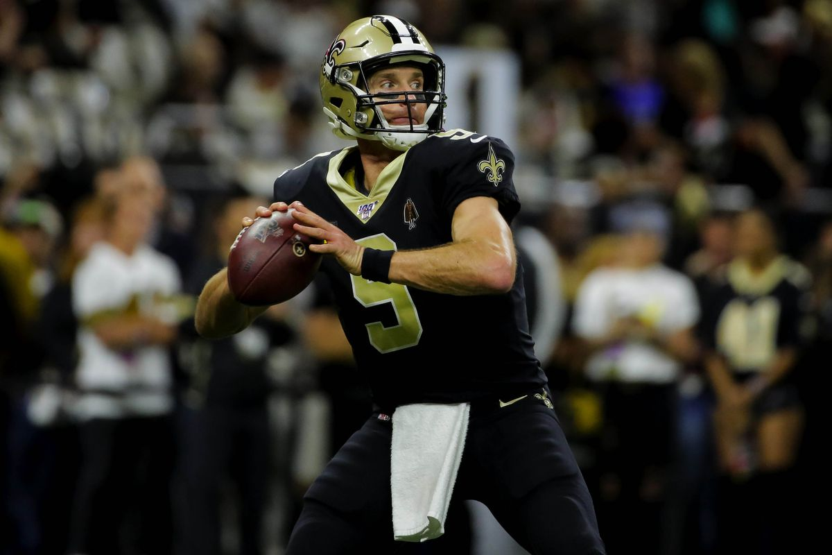 New Orleans Saints quarterback Drew Brees warms up against the Indianapolis Colts prior to kickoff at the Mercedes-Benz Superdome.