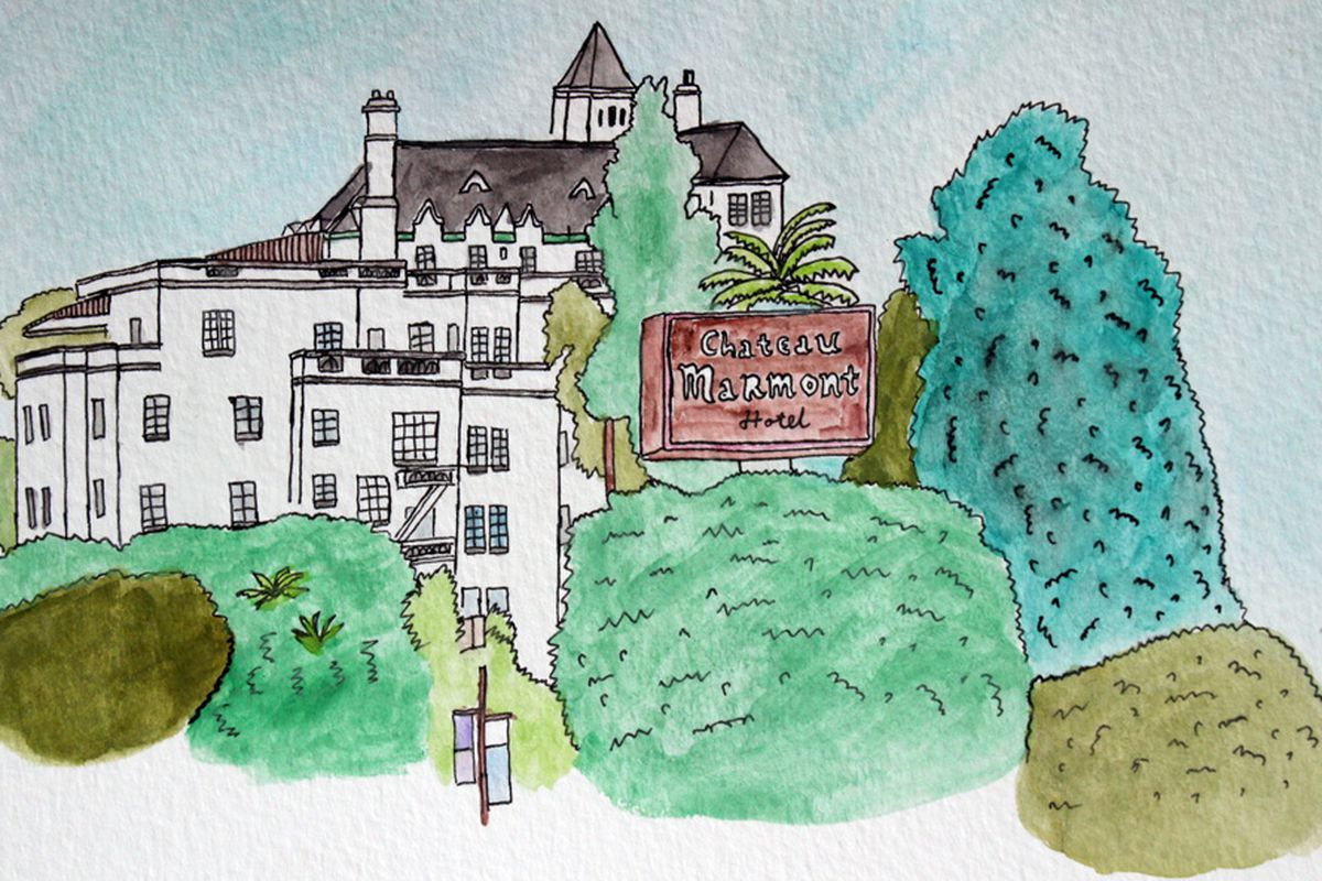 The Chateau Marmont. All illustrations by Nilina Mason-Campbell.