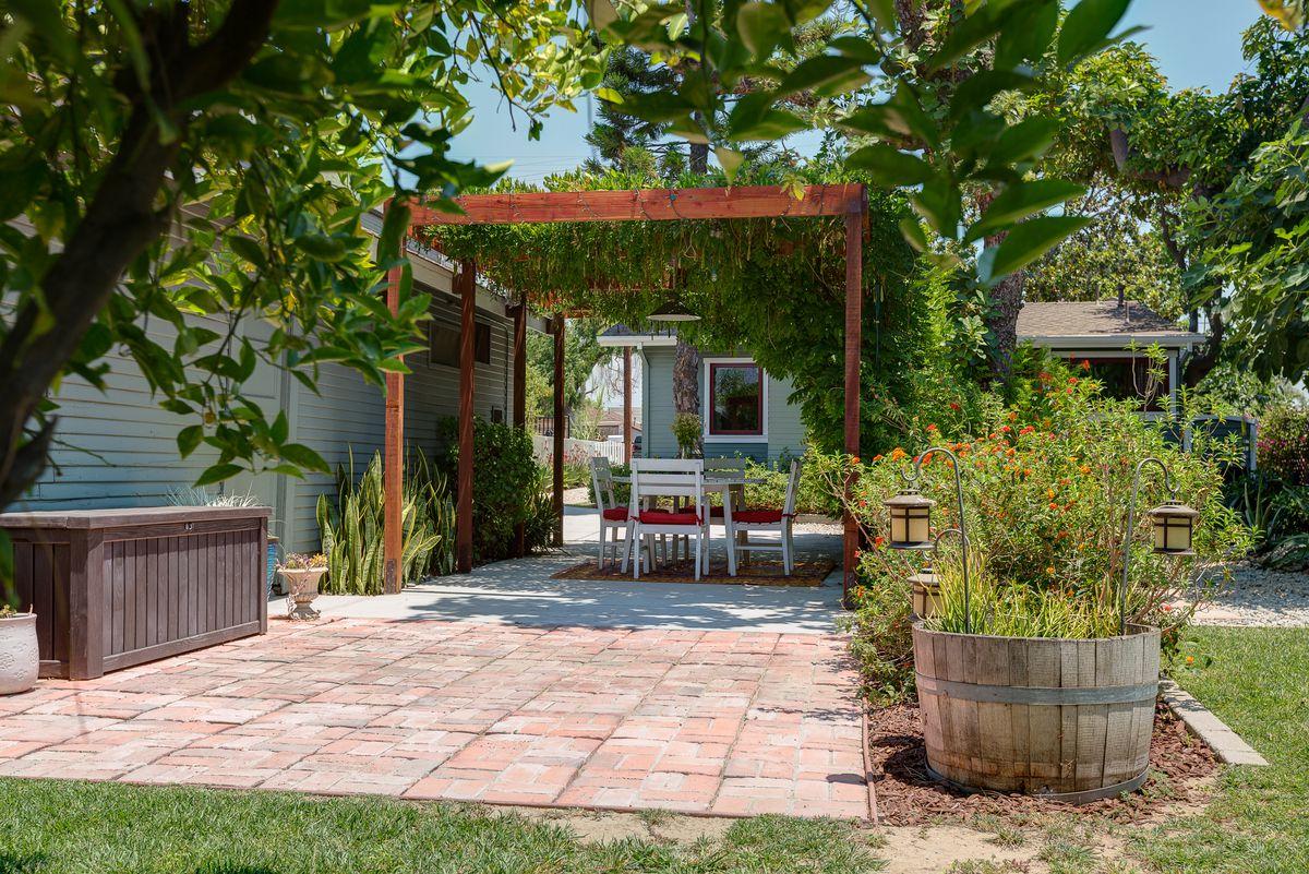 Backyard with pergola