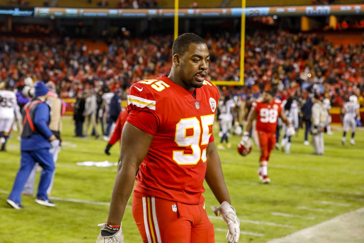 Defensive end Chris Jones of the Kansas City Chiefs reacts to the 29-28 loss to the Los Angeles Chargers at Arrowhead Stadium on December 13, 2018 in Kansas City, Missouri.