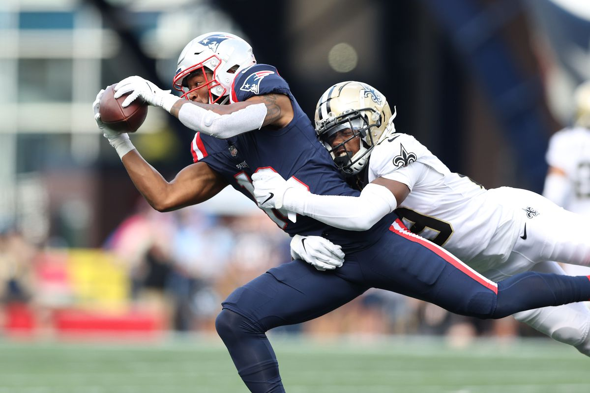 Jakobi Meyers #16 of the New England Patriots makes a catch in the second quarter of the game against the New Orleans Saints at Gillette Stadium on September 26, 2021 in Foxborough, Massachusetts.