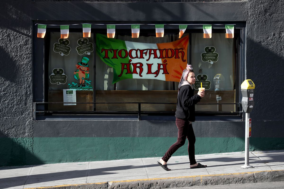A shuttered bar in San Francisco on St. Patrick's Day, 2020
