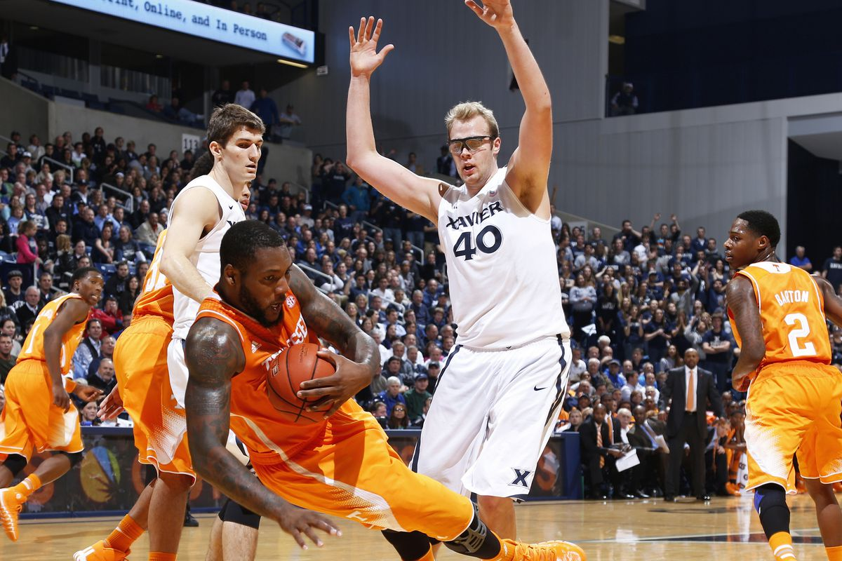 Matt Stainbrook, seen here being smart enough to know he shouldn't fall down during basketball.