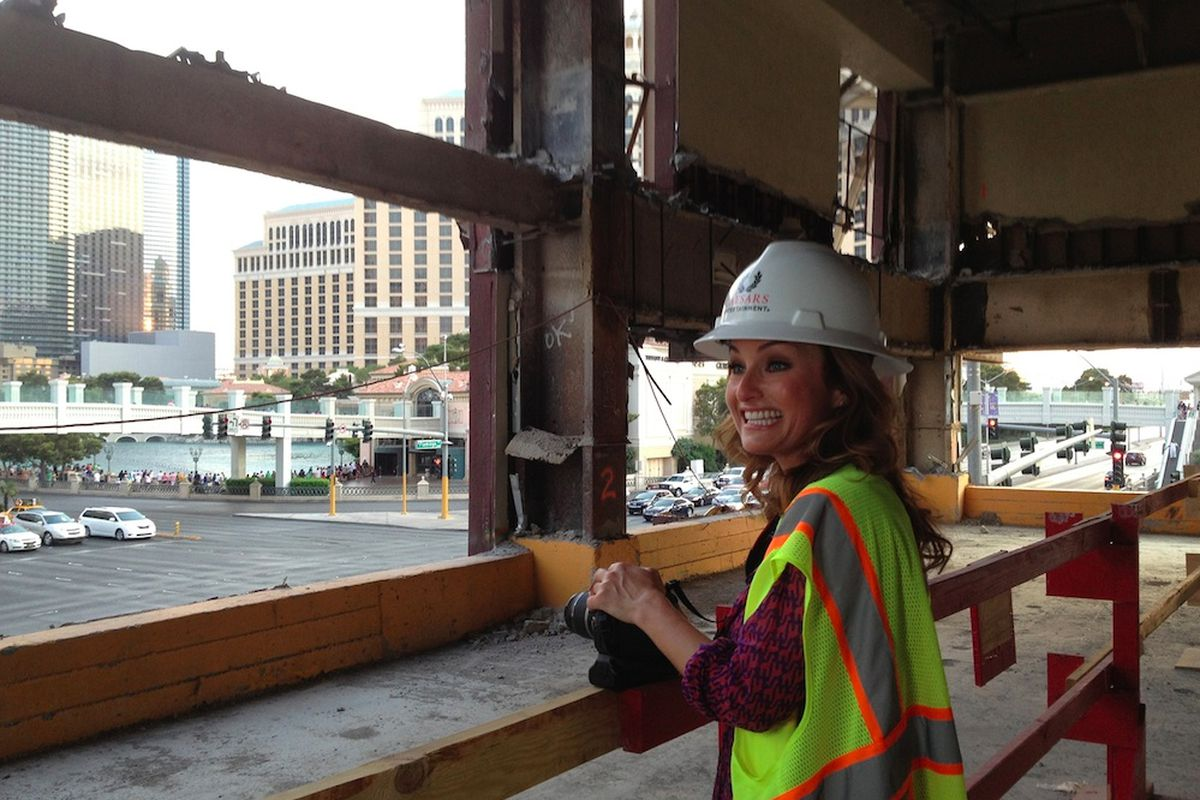 Giada at the restaurant construction site
