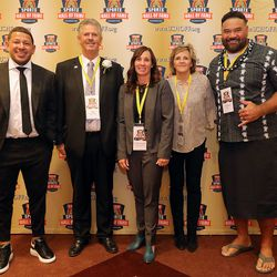 Real Salt Lake goalkeeper Nick Rimando, professional golfer Jay Don Blake, water polo olympian Courtney Young Johnson, collegiate track all-American Teri Okelberry Spiers and NFL football player Haloti Ngata pose for a photo after they were all honored at the Utah Sports Hall of Fame Foundation banquet at the Little America Hotel in Salt Lake City on Monday, Sept. 20, 2021.