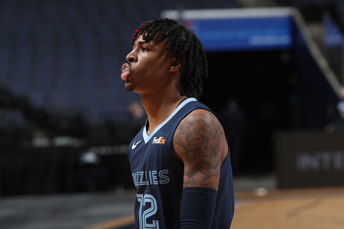 Ja Morant of the Memphis Grizzlies looks on during the game against the Atlanta Hawks on December 26, 2020 at FedExForum in Memphis, Tennessee.