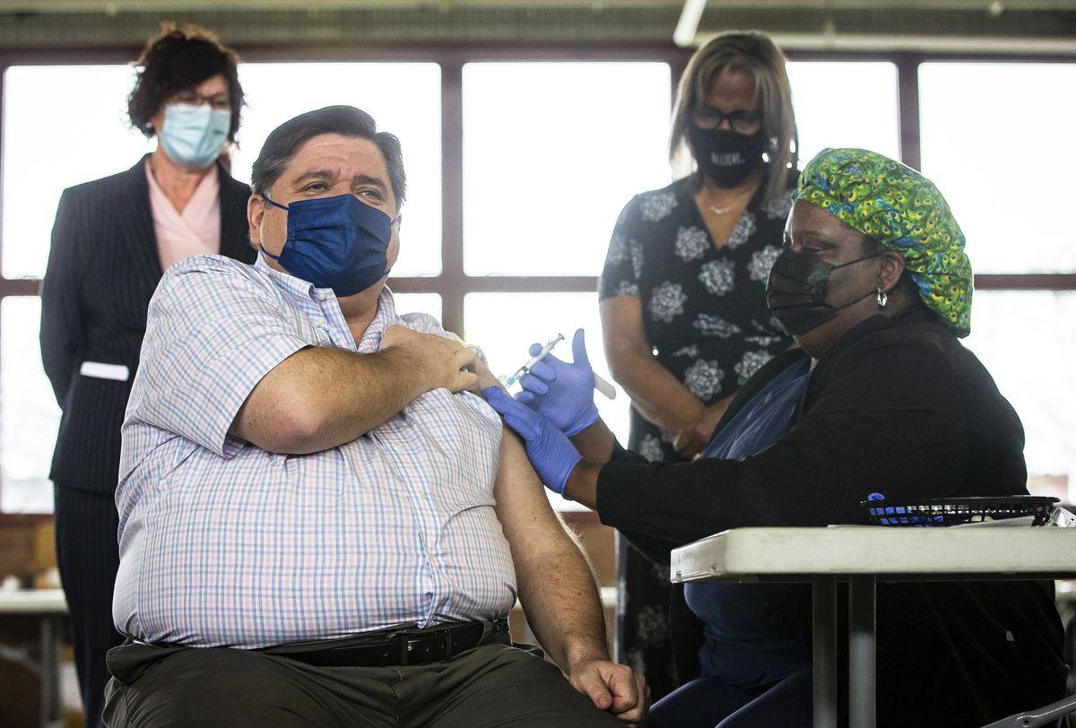 Gov. J.B. Pritzker receives the Johnson & Johnson COVID-19 vaccine on March 24 in Springfield.