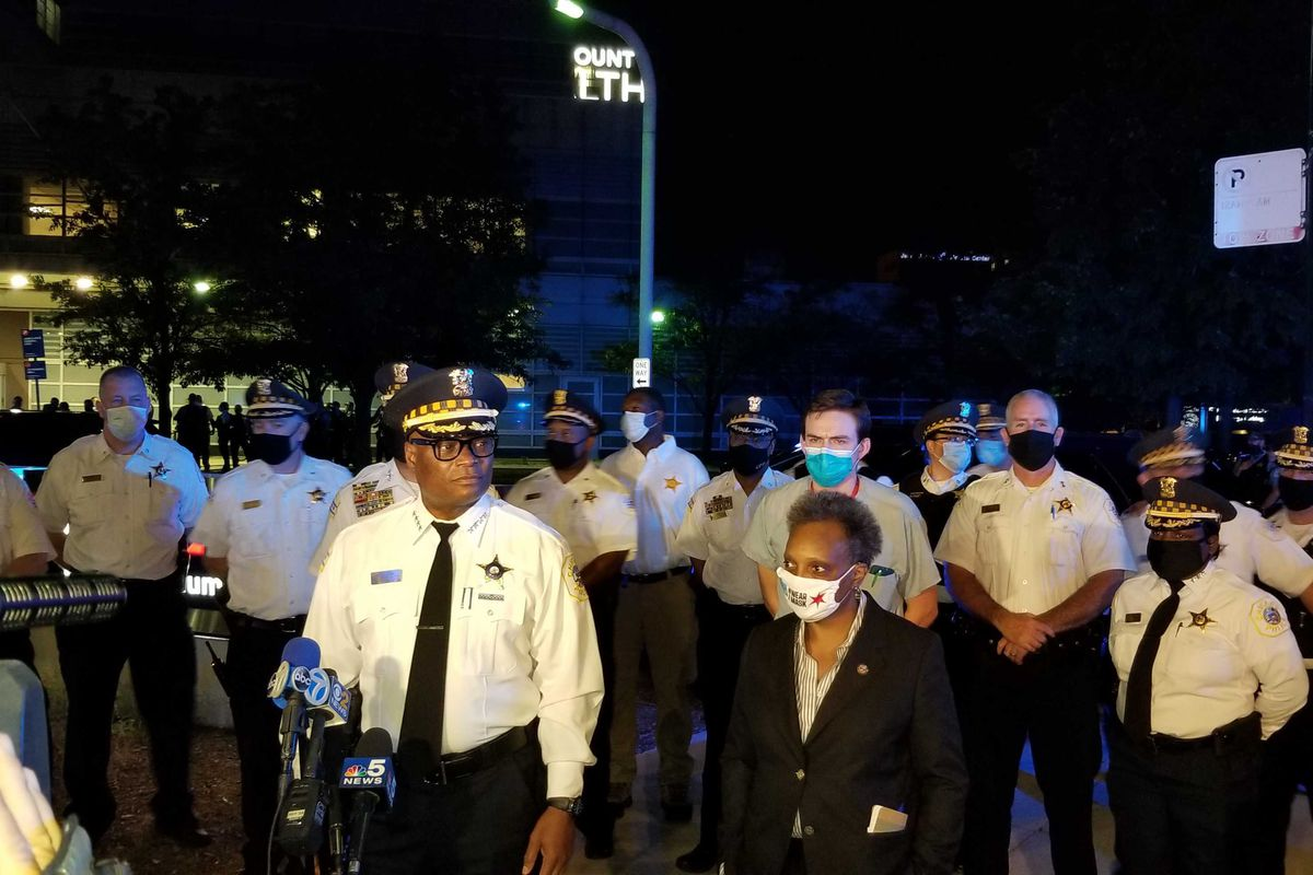 Chicago Police Supt. David Brown, Mayor Lori Lightfoot and Dr. Hadyn Hollister speak outside Stroger Hospital after two Chicago police officers and a suspect were wounded in a shooting Aug. 30, 2020, in the 3300 block of West Polk Street.