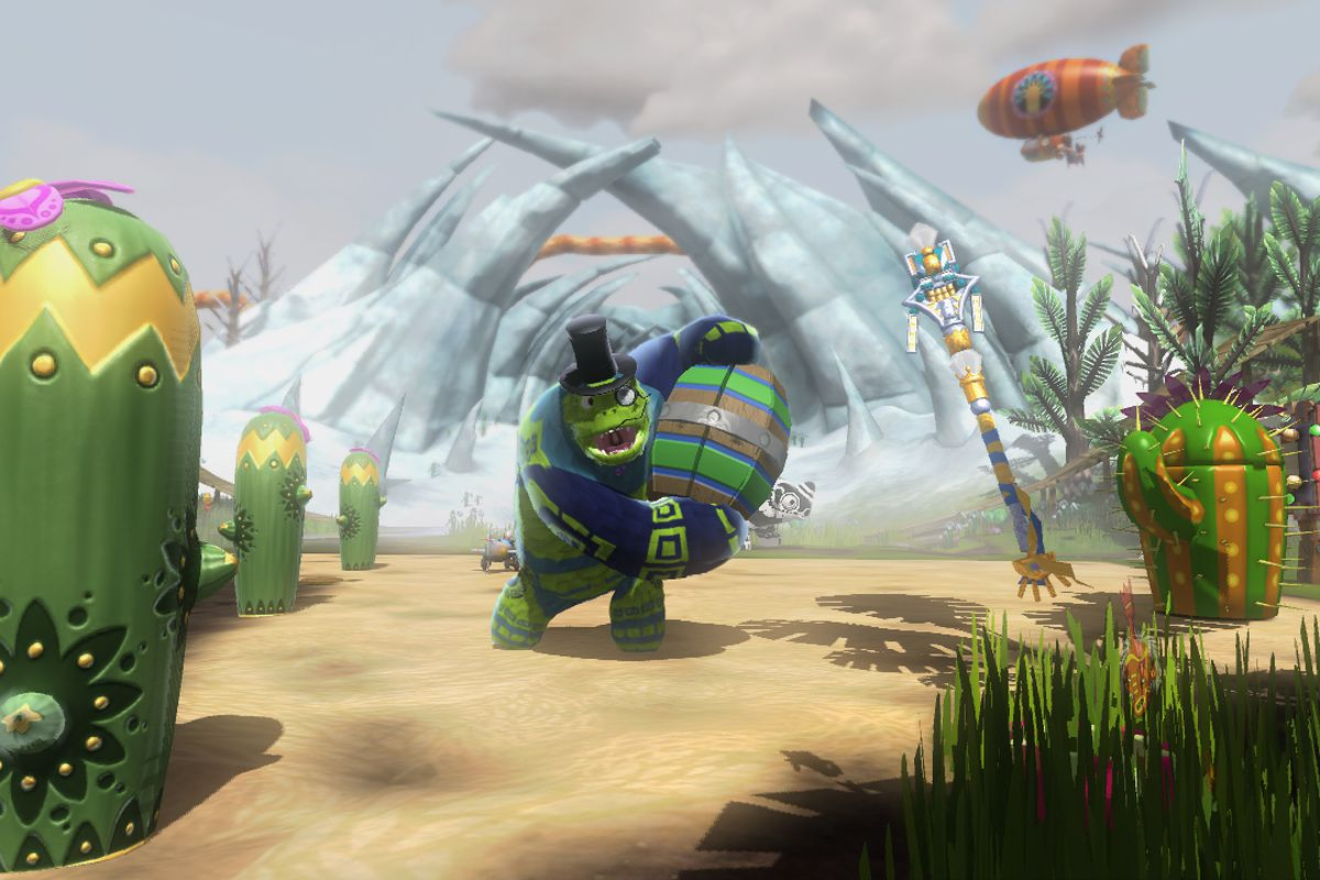 a turtlelike man in a top had holds a barrel in Viva Pinata: Trouble in Paradise