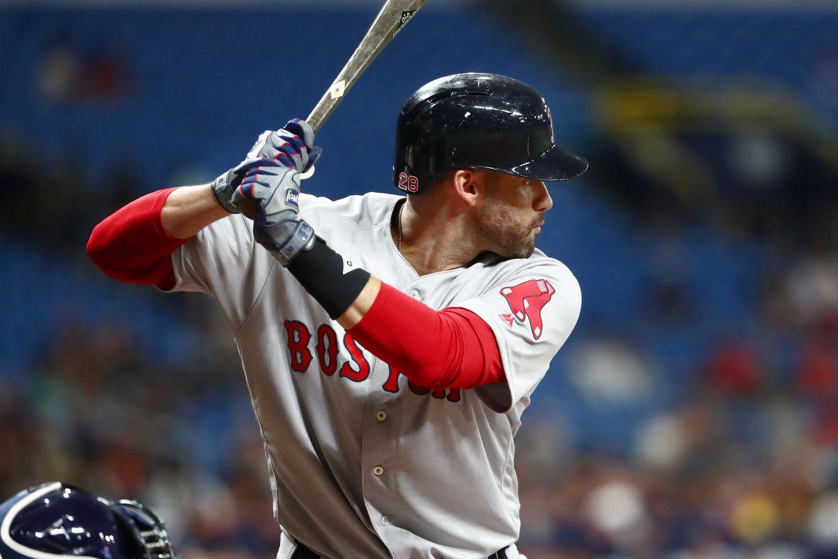 Boston Red Sox left fielder J.D. Martinez at bat at Tropicana Field.