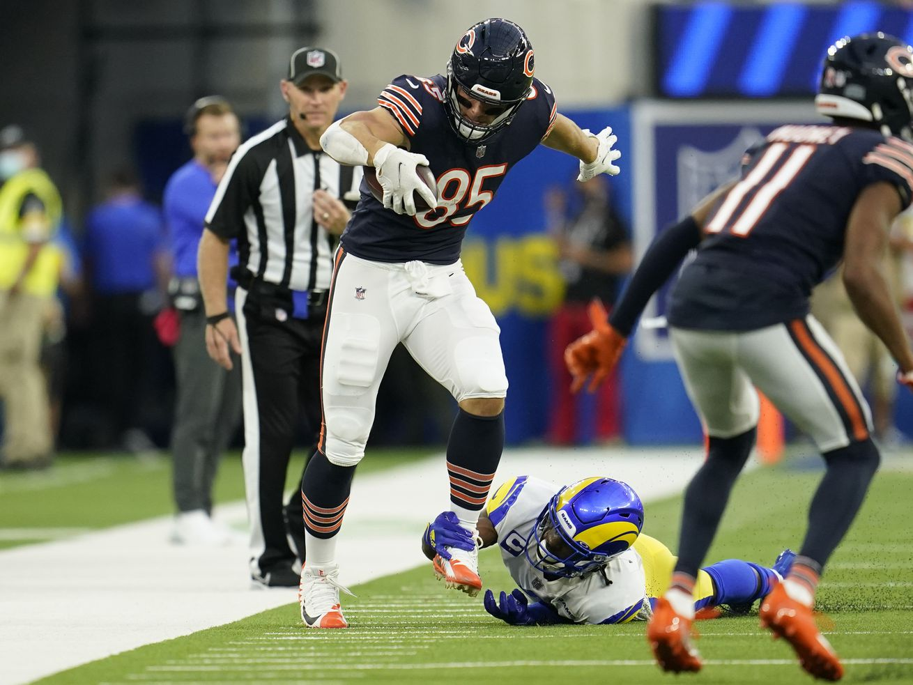 Bears tight end Cole Kmet struggles for extra yardage on a third-down reception against the Rams. It set up a fourth-and-15 play that the Bears failed to convert in a 34-14 loss at SoFi Stadium in Inglewood, Calif.
