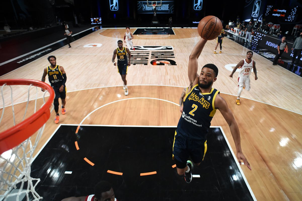 Cassius Stanley of the Fort Wayne Mad Ants dunks the ball against the Canton Charge on March 4, 2021 at AdventHealth Arena in Orlando, Florida.
