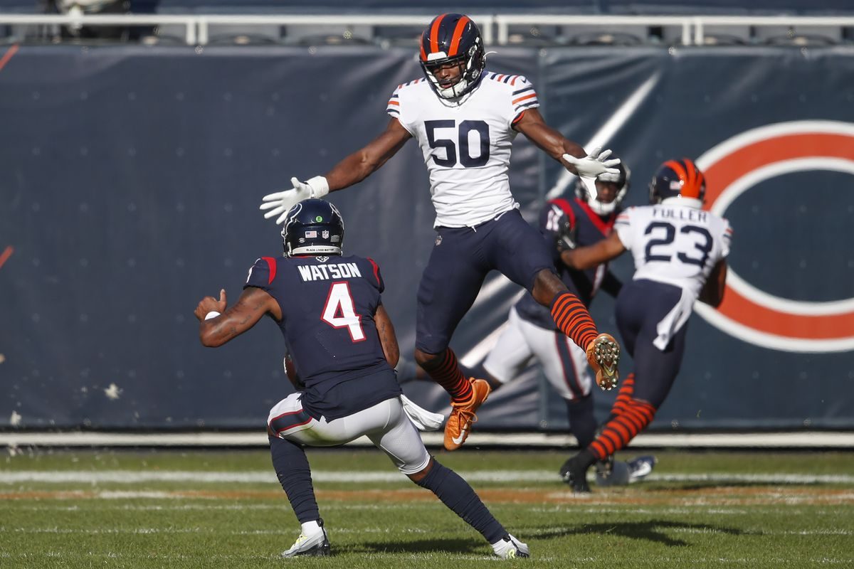 Texans quarterback Deshaun Watson (avoiding Bears linebacker Barkevious Mingo) got a first-hand look at the Bears' culture in a 36-7 loss to  Chicago on Dec. 13 at Soldier Field.