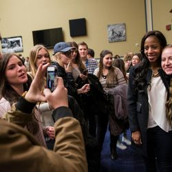 Rep. Mia Love, R-Utah, takes a photo with Emma Vernon, of American Fork, during a Utah delegation reception in the House Oversight and Government Reform Committee Room in the Rayburn Building in Washington, D.C., on Thursday, Jan. 19, 2017.