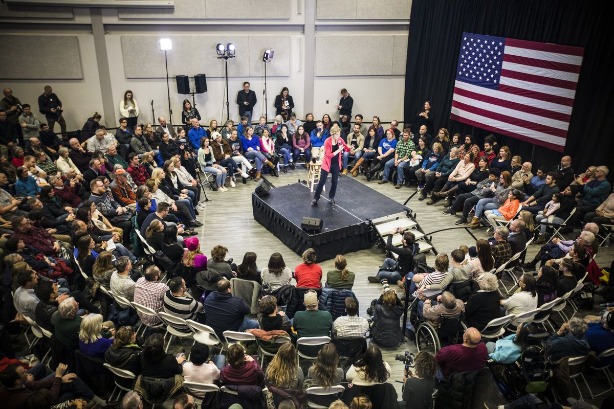 Sen. Elizabeth Warren (D-MA), speaks during a New Hampshire campaign event during her 2020 exploratory phase in Manchester, the state's largest city, on January 12, 2019.