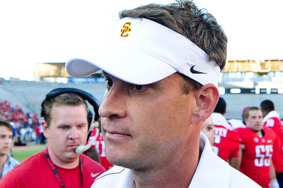 Oct. 27, 2012; Tucson, AZ, USA; USC Trojans head coach Lane Kiffin reacts are losing to the Arizona Wildcats 39-36 at Arizona Stadium.
