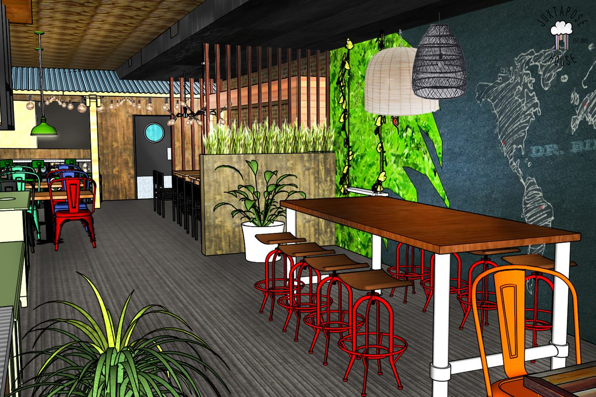A colorful digital drawing of plans for a restaurant's interior.