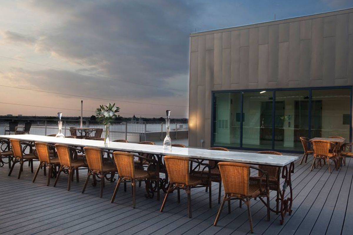 The Rice Mill Lofts rooftop deck.