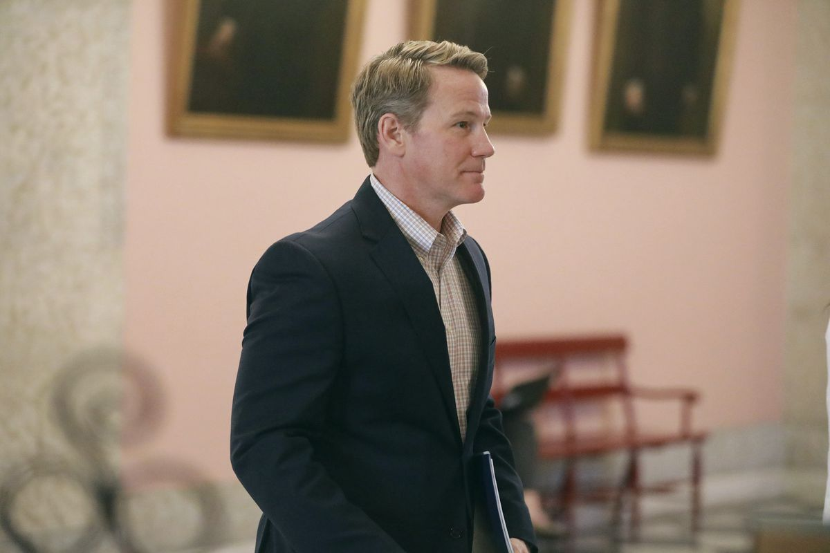 This Monday, March 23, 2020 file photo shows Ohio Lt. Gov. Jon Husted walking out of a coronavirus news conference at the Ohio Statehouse in Columbus, Ohio.