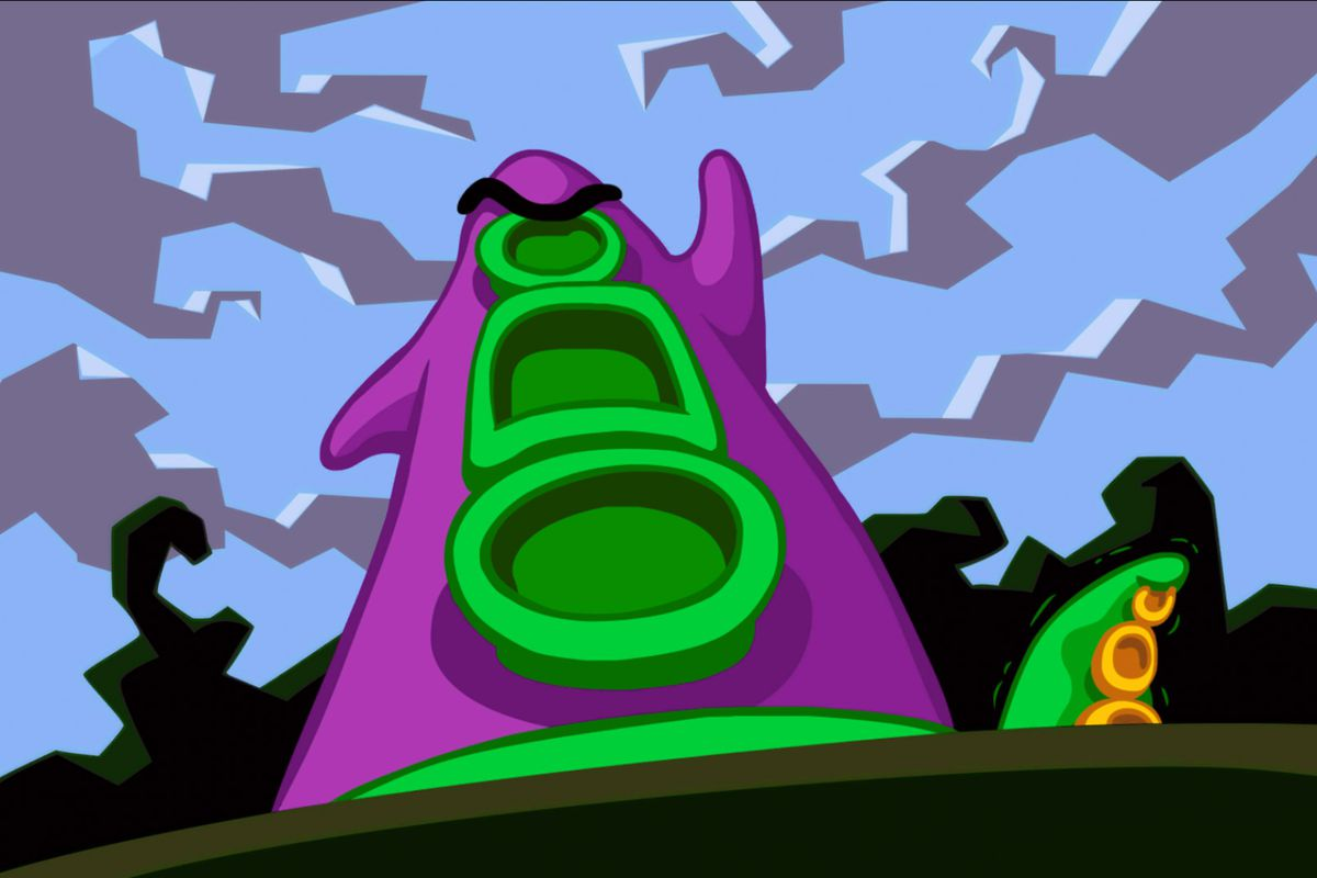 Day of the Tentacle Remastered— an angry anthropomorphic tentacle raises its fist to the sky