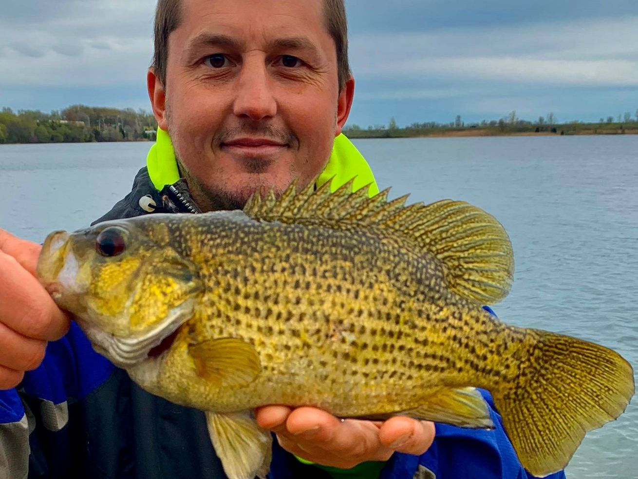 Jonny Pitelka with a state-record quality rock bass, caught and released at Three Oaks Recreation. Provided photo