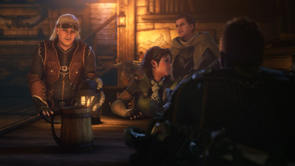 Hunters discuss monsters over drinks in a warmly lit interior space in Monster Hunter: Legends of the Guild