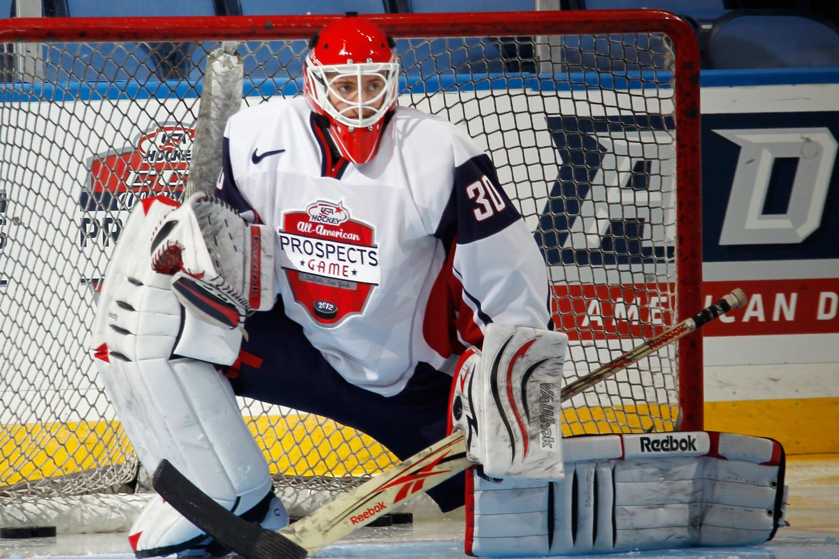 This is the only photo of Cal Petersen available to us. It's from 2012. He's still probably better than 90% of college hockey goalies as of this photo.
