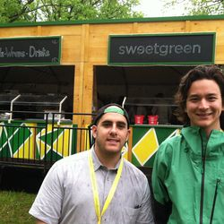 """Two of the Sweetgreen founders, Nicolas Jammet (left) and Nathaniel Ru (right). The goal of Sweetlife Festival is to bring many experiences together, Ru said. """"Food, art and music, each adds to the overall experience of the event."""""""